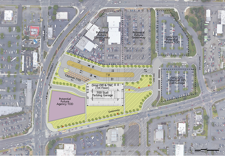 An aerial map of the proposed South Renton Transit Center