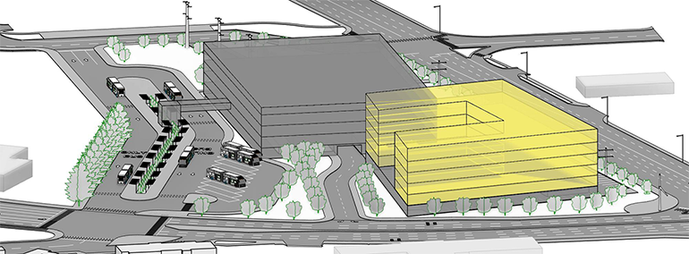 A rendering of the proposed future South Renton Transit Center viewed from the west. The potential future Agency TOD building is colored yellow and the potential future parking garage, drop off, and TNC building is colored gray.