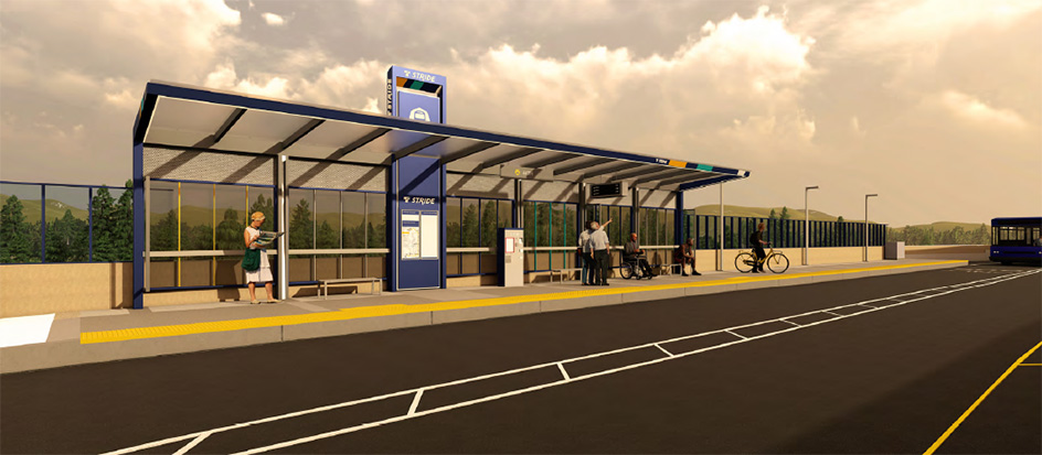 A rendering of a Stride shelter during the day.