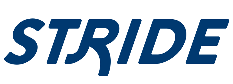 """The Stride logo consisting of the word """"Stride"""" in large, blue letters."""
